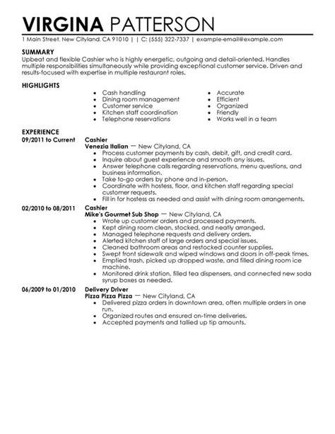 Cashier Duties Resume by Cashier Resume Exles Free To Try Today Myperfectresume