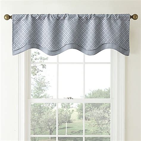 Scalloped Valances For Windows Decor Waterford 174 Linens Cbell Scalloped Window Valance In Dusty Blue Bed Bath Beyond