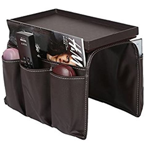over the armchair organizer pu leather and wood remote caddy magazine storage