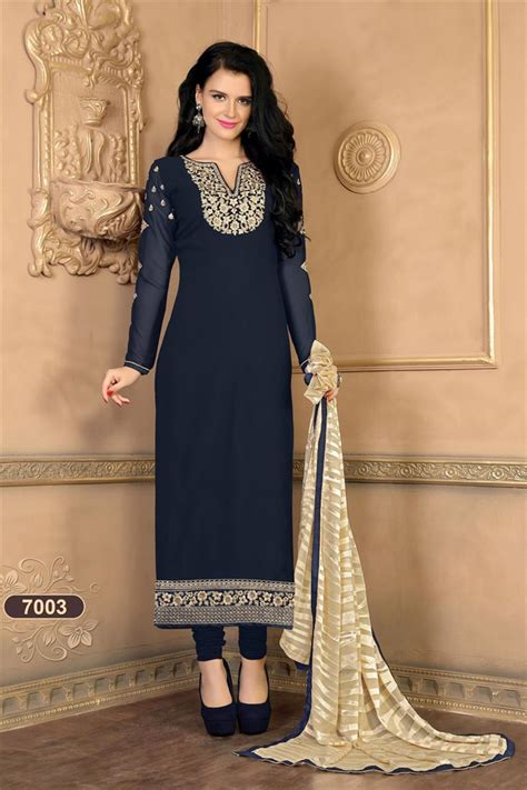 Buy Navy Blue Party Wear Pakistani Salwar Kameez 7003 Online 166Sarla7003