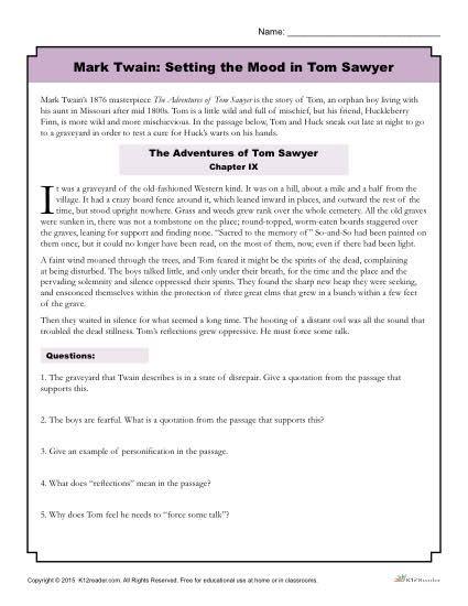 Tone And Mood Worksheet by Setting The Mood In Tom Sawyer Worksheet