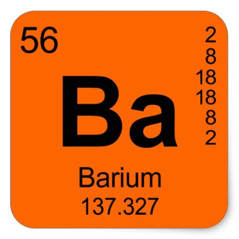Ba On The Periodic Table by Periodic Table Of Elements Barium Square Sticker Zazzle