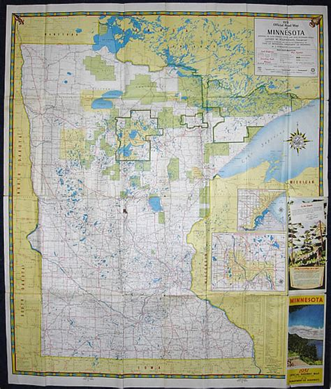 Route Drawer Map by 1951 Official Road Map Of Minnesota