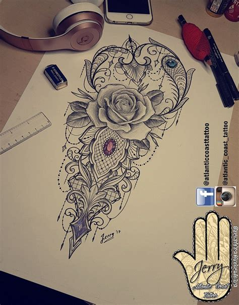 rose and lotus tattoos beautiful idea design for a thigh arm by