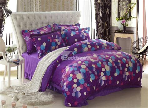 classic dots print purple 4 bedding sets duvet cover