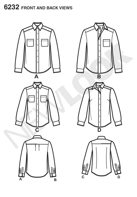 shirt pattern long sleeve new look 6232 misses and men s button down shirt