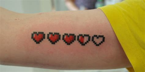 zelda heart tattoo containers pixel tattoos www imgkid