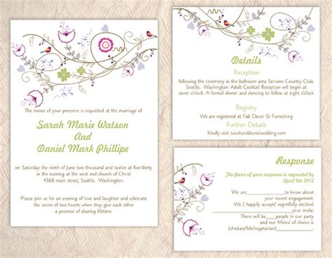 colorful wedding invitation templates diy wedding invitation template set editable text word
