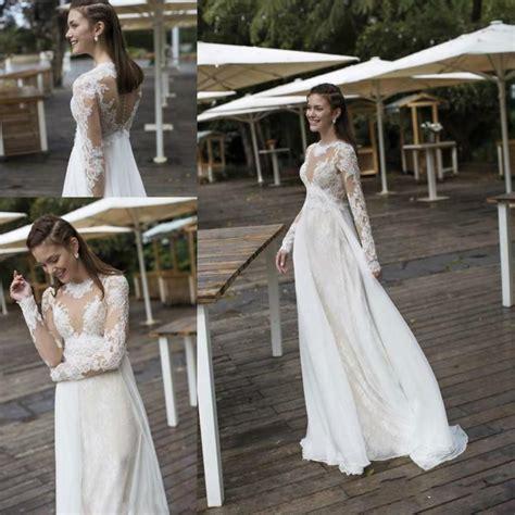 simple beach summer lace wedding dresses long sleeves