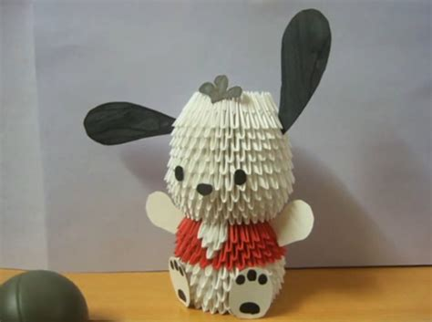 3d origami dog tutorial pin 3d origami pochacco dog tutorial on pinterest