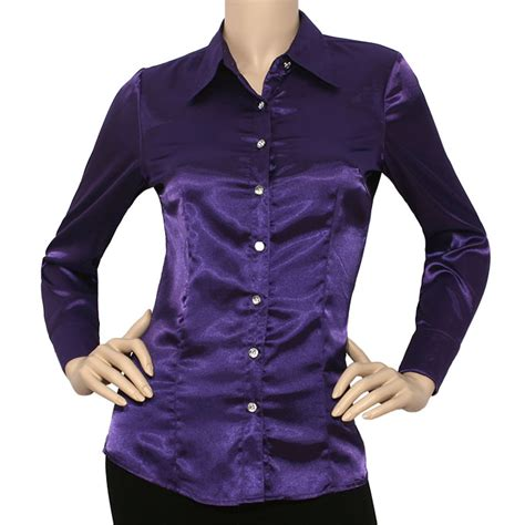 Lavender Silk Button Blouse by Iron Puppy Satin Charmeuse L Slv Button Solid