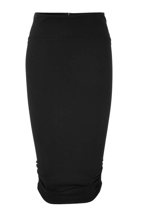 mcq by mcqueen black draped pencil skirt in
