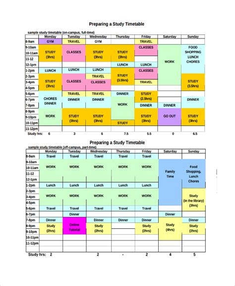 template for students sle weekly timetable template 9 free documents