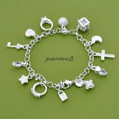 charms for jewelry silver charm bracelet cross ring key moon lock