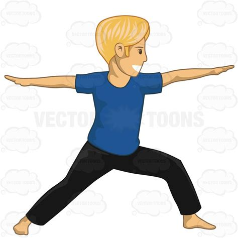 cartoon yoga wallpaper man in a warrior yoga pose vector clip art cartoon