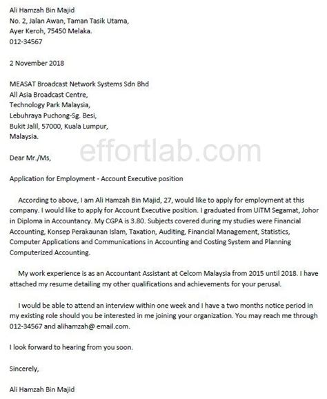 Application Letter Soal cover letter for resume dalam bahasa melayu cover letter