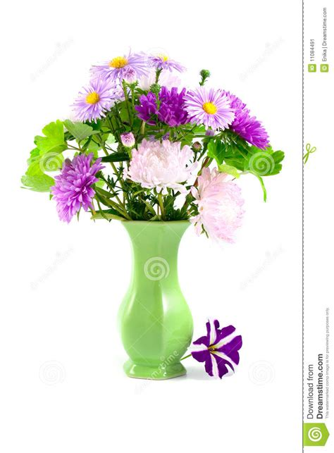 bouquet in a green vase stock image image 11084491