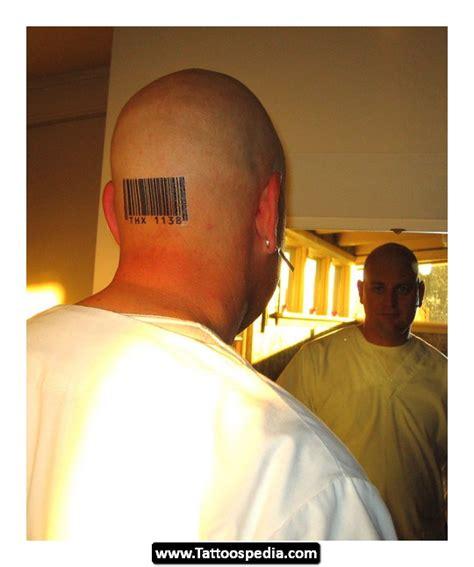 barcode tattoo back of head back head barcode tattoo