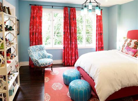 blue and red bedroom glossy red bed design ideas