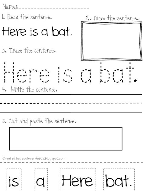 Sentence Writing Worksheets by Reading And Writing Simple Sentences Apples And Abc S