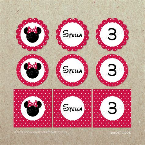 minnie mouse printable birthday decorations printable minnie mouse inspired party circles paper nook