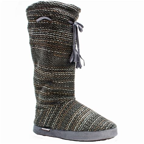 slipper boots muk luks grommet s slipper knit sweater boots sherpa
