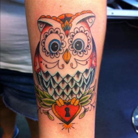 new school owl tattoo arm new school owl by colchester arts