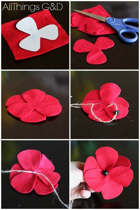 pattern for felt poppy diy felt poppies step by step instructions and a