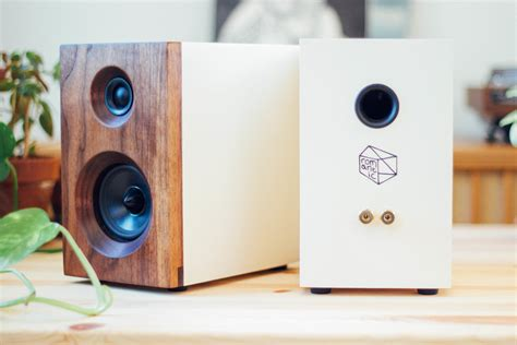 the fremont walnut white bookshelf speakers by