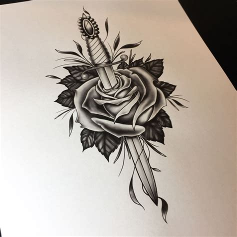 dagger and rose tattoo dagger and drawing flash by neil ohmie