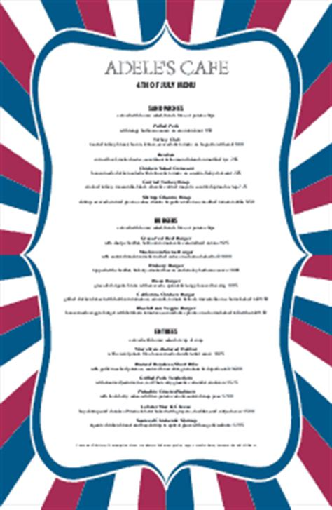 4th Of July Menu Template by July 4th Menu 4th Of July Menus