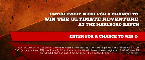 Marlboro Ranch Sweepstakes - free marlboro ranch trip instant win giveaway 253 winners heavenly steals
