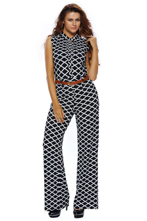 Belted Lattice Sleeve Jumpsuit wholesale new lattice print belted wide leg jumpsuit