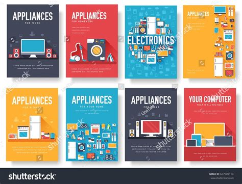 Home Appliances Cards Set Electronics Template Stock Vector 627989114 Shutterstock Home Appliances Website Template Free