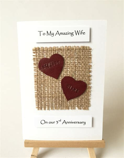 3rd Wedding Anniversary Card Leather by Leather Anniversary Card Personalized 3rd Wedding Anniversary