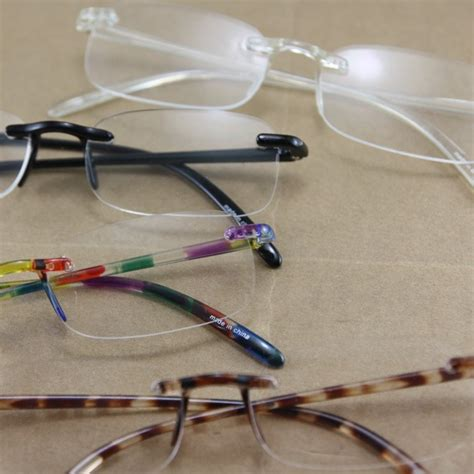 light reading glasses plastic frame rimless