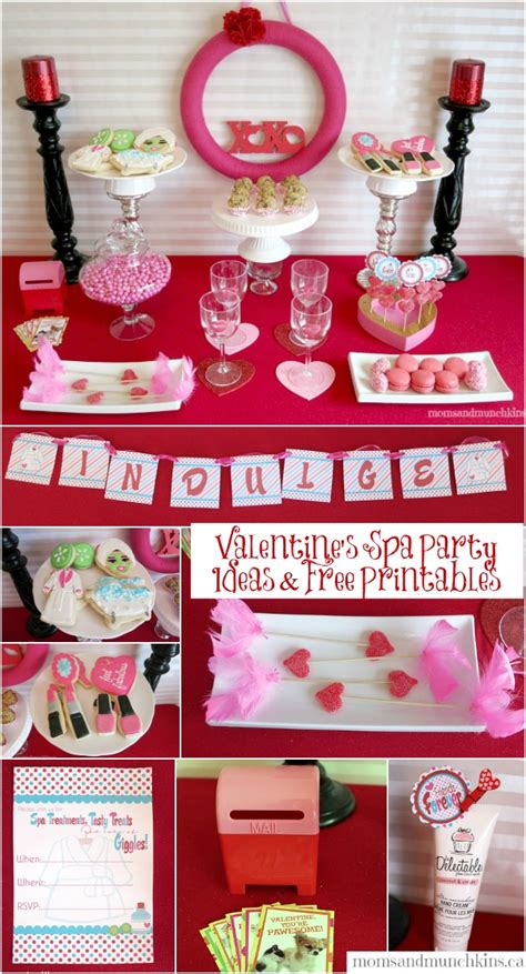 free printable valentine party decorations valentine party printables with a spa theme moms munchkins