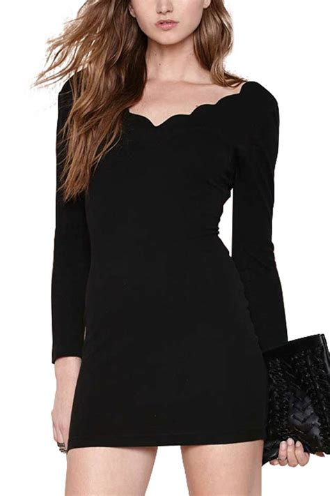 black long sleeve scalloped trim bodycon dress