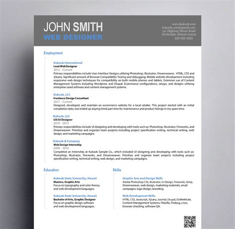 Graphic Resume by Simple Graphic Design Resume Kukook