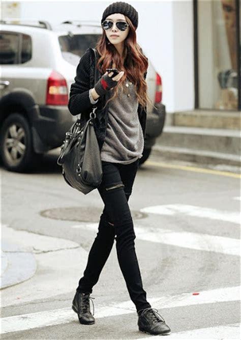 Celana Panjang Denim Abu Abu Fashion Wanita Korea Terbarumurahgb0823 gaya fashion wanita korea style casual