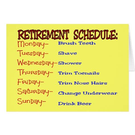 Funny Gift Cards - retirement schedule funny retirement gifts card zazzle