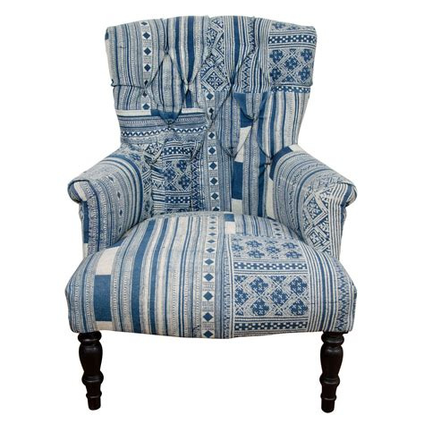 Blue And White Armchair by Indian Wood Blue And White Dhurrie Upholstered Arm Chair
