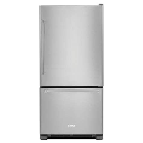 kitchenaid 30 in w 19 cu ft bottom freezer refrigerator