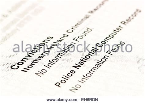 Certificate Of Clean Criminal Record Certificate From Access Ni Showing A Clean Record With The Psni S Stock Photo