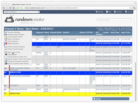 Timing 101 Rundown Creator Web Based Tv Radio Rundown Software Tv Rundown Excel Template