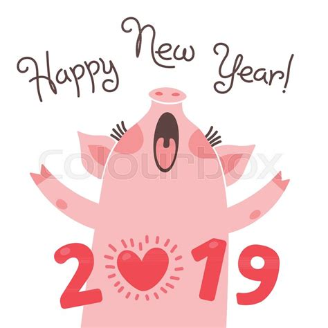 happy   year card funny piglet stock vector colourbox