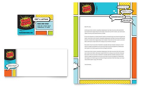 card templates for children club business card letterhead template design