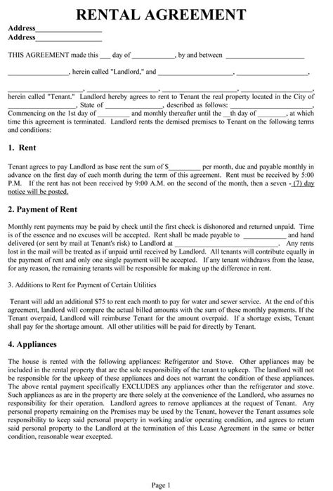 rental lease agreement templates write