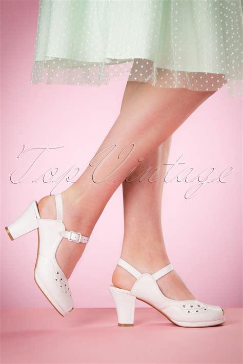 miss shoes 40s betty sandals in white