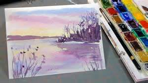 easy 3 color watercolor sunset youtube